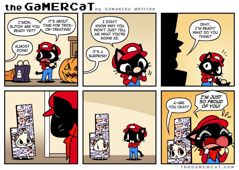 Video Game Comic Cat Go Back